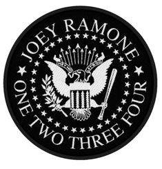Ramones Woven Patch, Joey Ramone One Two Three Four Presidential Seal (Import) Ramones Woven Patch, Ramones Novelties, Ramones Merchandise Ramones, Band Patches, Sew On Patches, U2 Logo, Denim Decor, Presidential Seal, Number Of The Beast, Joey Ramone, Ride The Lightning