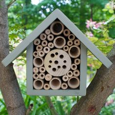 This insect habitat is ideal for hanging in a sheltered yard, orchard or on a house wall.  It is designed primarily to be used by solitary bees such as Mason Bees or Leafcutter Bees, which are non aggressive and excellent for pollinating the plants in your yard, helping to increase fruit yields.
