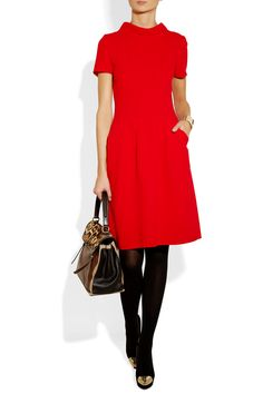 Oscar de la Renta | Double-faced wool-crepe dress. Shown here with: Yves Saint Laurent cuff and bag, Falke tights, Valentino shoes.