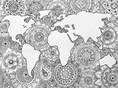 Zentangle world map random room things pinterest oktubre mandalas art drawings draw crafts gumiabroncs Images