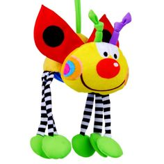Free shipping multifunctional educational pacify ladybug doll bed hanging bell infant newborn baby plush rattle toy gift 1 pc-inBaby Rattles...
