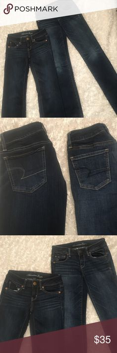 !!TWO PAIR!! American Eagle! Great Condition! American Eagle Bundle! Great Condition! Two pair for a great price! Pair 1: Super Stretch Skinny Jeans.       Pair 2: Stretch Straight Leg Jeans. Both pair are in great condition! American Eagle Outfitters Jeans Straight Leg