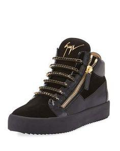 Giuseppe Zanotti Men s Crystal-Lace Velvet  amp  Leather Mid-Top Sneaker Giuseppe  Shoes a2c2e6f3389