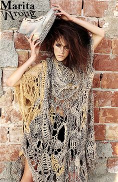 Marita Wrong creates unique handmade crochet dresses. Different fashion.  Textile dress. Crochet Shoes. Gold. Art. Different. Fashion Designer   Marita Wrong ... f77d7fbdaa