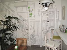 "Mordi e Fuggi Restaurant in the centre of Bologna has decided to adopt the wallpaper design ""Vitality"" of Glamora Creative Wallcoverings"