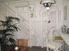 "Mordi e Fuggi Restaurant in the centre of Bologna has decided to adopt the wallpaper design ""Vitality"" of Glamora Creative Wallcoverings"