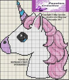 Free cross stitch chart: Portrait of a unicorn - Passion creative - - Unicorn Knitting Pattern, Unicorn Cross Stitch Pattern, Baby Cardigan Knitting Pattern, Crochet Unicorn, Baby Knitting Patterns, Cross Stitch Patterns, Stitch Disney, Free Cross Stitch Charts, Unicorn Crafts