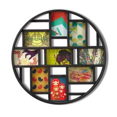 Umbra Luna Collage Wall Frame - DIY Gallery Style Multi Picture Photo Collage Frame, Displays nine 4 by 6 inch Photos, Illustrations, Art, Graphic Text Multi Picture Photo Frames, Round Picture Frames, Collage Picture Frames, Photo Wall Collage, Black Picture, Round Frame, Art Mural Photo, Cadre Photo Mural, Photo Art