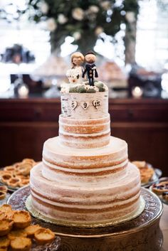 Naked Wedding Cake With Birch Accent and Personalized Wedding Toppers   Photo: Nyk + Cali, Wedding Photographers   Cake: Patty Cakes