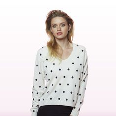 Polka Dot Sweater Snow with Navy Dots Polka Dot Sweater, Polka Dot Top, Winter Collection, Cashmere, Snow, Navy, Sweaters, Shopping, Tops