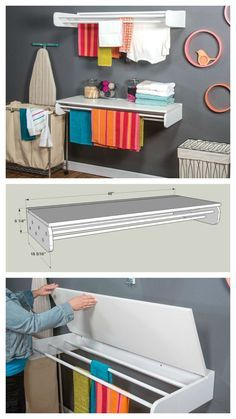 DIY Laundry Drying and Folding Rack :: Find the FREE PLANS for this project and many others at buildsomet Drying Rack Laundry, Laundry Storage, Laundry Room Organization, Laundry Room Design, Folding Laundry, Drying Racks, Craft Storage, Basket Storage, Clothes Storage