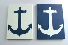 Mirrored Anchor Paintings On Canvas (navy blue)