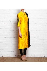 Yellow Raw Silk Hand Embroidered Churidar Suit