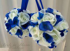 Wedding pomanders White Ivory Royal blue Wedding flower balls Flower girl Kissing ball Ceremony decorations via Etsy  Keywords: #royalblueweddings #jevelweddingplanning Follow Us: www.jevelweddingplanning.com  www.facebook.com/jevelweddingplanning/