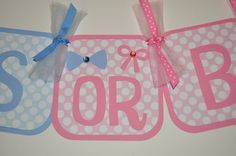 Gender Reveal Party Banner Bowties or Bows by GracieMcCain on Etsy, $35.00
