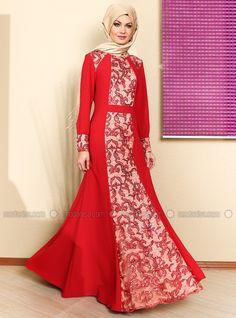 Ön Ve Ortasi Payet Dantel Uzun Abiye Elbise - Kırmızıya Krem - Modaysa. İncelemek ve satın almak için fotoğrafa tıkla.