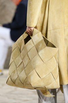 Loewe Spring 2015 - suede coat and woven suede bag
