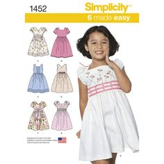 Simplicity Pattern 1452 Child's Dress with Bodice and Sleeve Variations