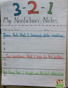 FORMATIVE ASSESSMENT and EXIT TICKET CHART: Nonfiction Notes (Use to review chapters or lectures/presentations.)