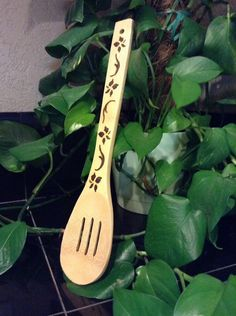 Bamboo spoon wooden decorative spoon wood burned by ScratchandBurn