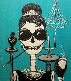 ☯☮ॐ American Hippie Psychedelic Art Skull ~ Breakfast at Tiffany's