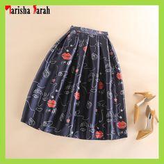 Women Red Lips Print Mid-Calf Ball Gown Skirts Plus Size XXL High Waist Pleated Skater Flared Tulle Skirt Saia faldas largas