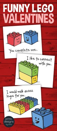 Class valentines are a breeze with these easy print and cut Valentine's  Day Funny Lego Style Themed Cards! Perfect for any class! Unique,  classic designs with my original artwork of one of my favorite toys! Grab them to give to your students or as extras for any students that don't have or forget their own to give out. Download is a PDF file with 9 cards on a page to print and cut out. THREE different designs are included!