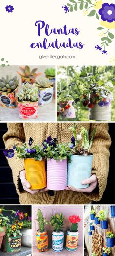 DIY colorful tin can planter Summer Diy, Summer Crafts, Tin Can Crafts, Diy And Crafts, Flower Planters, Flower Pots, Indian Garden, Recycle Cans, Decorated Jars