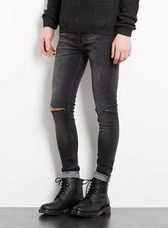 Charcoal Ripped Spray On Skinny Jeans