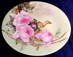 Antique JPL Pouyat Limoges Hand Painted Roses Cabinet Plate #JPLPouyatLimoges