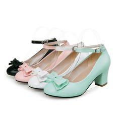 400d51dc78 Lolita mujeres Cuero Con Moño Bloque Medio Tacón Bombas Vestido Tira al  Tobillo Zapatos Talla Bloques