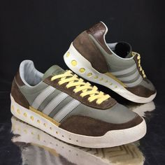8d034ec7f6ea1 adidas Originals mens PT 70 Trainers Brown Green sz 8 Rare Sneakers US 8.5  EU