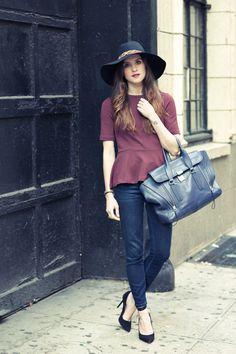Black Cherry New York City Fashion and Personal Style Blog: Leopard print hat, peplum top, cropped jeans, classic pumps – OnTheRacks