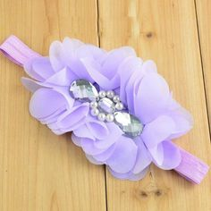 Girls Shabby Purple Fabric Flower Cluster Headband