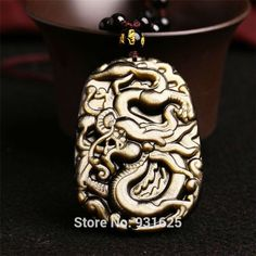 Wonderful Natural Gold Obsidian Hand Carved Chinese Dragon Lucky Amulet Pendant + Black Beads Beads Necklace Fashion Jewelry #Affiliate