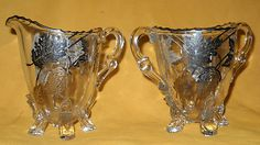 Silver City Glass Footed Open Sugar & Creamer Sterling Overlay in Forest Pattern