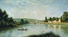 """Stanislas Lépine: """"The Seine at the Pont de Sèvres"""", ca. 1876-80, oil on canvas, Current location: Museo Thyssen-Bornemisza, Madrid"""