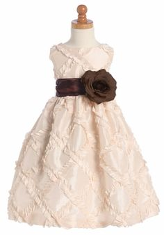 Blossom Blush Pink Taffeta Ribbon Dress w/ Detachable Sash & Flower