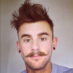 Eyebrows, CHECK. Nose pierced, CHECK. Haircut, CHECK. Mustache, CHECK. Scruff, CHECK. Guys, TAKE LESSONS <3