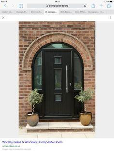 Arched Front Door, Front Door Porch, Porch Doors, Arched Doors, House Front Door, House Doors, Front Entrances, Entrance Doors, Windows And Doors