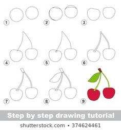 Find Drawing Tutorial How Draw Cherry stock images in HD and millions of other royalty-free stock photos, illustrations and vectors in the Shutterstock collection. Thousands of new, high-quality pictures added every day. Basic Drawing For Kids, Drawing Lessons For Kids, Easy Drawings For Kids, Drawing For Beginners, Art For Kids, Drawing Tutorials, Fruits Drawing, Fruits For Kids, Drawing School