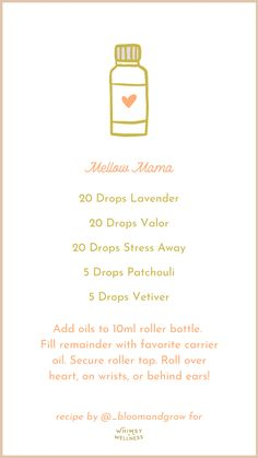 Mellow Mama emotional support roller bottle with Young Living essential oils whimsy + wellness Essential Oil Bottles, Doterra Essential Oils, Essential Oil Diffuser, Essential Oil Blends, Young Living Oils, Young Living Essential Oils, Sleep Spray, Roller Bottle Recipes, Linen Spray