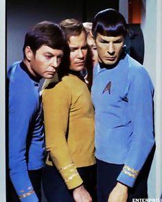 "William Shatner as Captain James Tiberius ""Jim"" Kirk, DeForest Kelley as Leonard H. 'Bones' McCoy and Leonard Nimoy as Lieutenant Commander Spock ; Star Trek 1966, Star Trek Tv, Star Wars, Star Trek Original Series, Star Trek Series, Science Fiction, James T Kirk, Star Trek Images, Star Trek Characters"