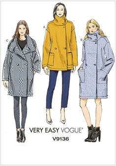 f94ac52c4a Sew the Look  Vogue Patterns V9136 unlined coat sewing pattern ...
