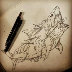 Shark < not just any shark, Jaws 1 Tattoo, Tattoo Life, Tattoo Sketches, Tattoo Drawings, Traditional Shark Tattoo, Hai Tattoos, Shark Drawing, Shark Art, Animal Sketches