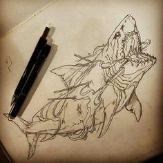 Shark < not just any shark, Jaws Tattoo Sketches, Tattoo Drawings, Cool Drawings, Tattoo Ink, Traditional Shark Tattoo, Hai Tattoos, Shark Drawing, Shark Art, Animal Sketches