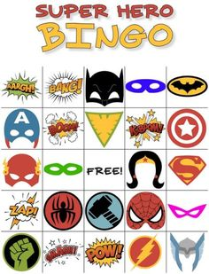 Free Printable Super Hero BINGO Party - - Got a superhero fan? This printable Superhero Bingo Game is perfect for birthday parties, library programs, or simply as a fun boredom buster at home. Super Hero Activities, Super Hero Games, Super Hero Day, Super Hero Crafts, Super Hero Theme, Superhero Party Games, Superhero Classroom, Superhero Birthday Party, Birthday Parties