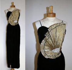 Vintage Black Velvet Origami Dress // 80s // Glam // by MKRetro, $245.00