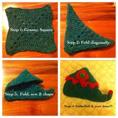 DIY - Elf Slippers from a knit or crochet square!   (By Cass Knuckles)