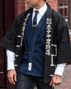"Japanese Men Women Unisex Cotton 33/""L Red Happi Coat w// Pocket Made in Japan"